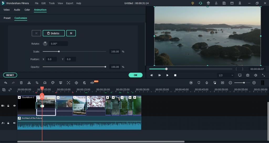 filmora-keyframing